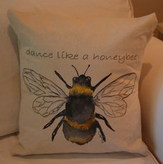 I LOVE this!!!  Hand painted pillow of honey bee. Dance by CanaryCottageDesigns