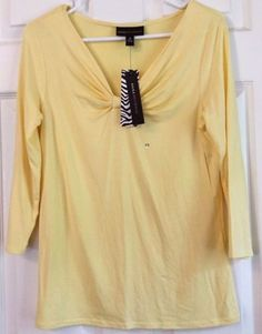 Dana-Buchman-Knit-Top-Yellow-Gathered-Bow-Front-V-Neck-18-In-Sleeve-Size-XS-NWT