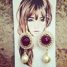 Handmade✋ #pgaccesorios #chapadeoro #aretes #earings #handmadejewelry #joyas #hechoamano #perla #jade #cristal