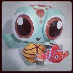Check out what we made today! Squirt from Finding Nemo Coin Bank!!! <3