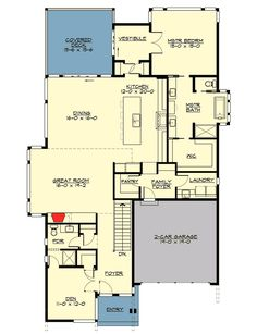 4 Bed Modern House Plan with Lower Level - 23621JD floor plan - Main Level