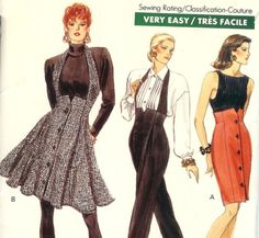 1980sVery Easy Very Vogue Sewing Pattern - High Waisted Skirt or Pants, attached Halter like Suspenders, size 6-8-10