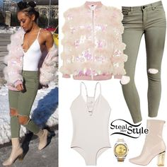 Leigh-Anne Pinnock instagrammed some pictures yesterday wearing a Move Along Bodysuit ($30.00) and High Rise Busted Skinny Jeans ($78.00) both by Free People, a Topshop Sequin Marabou Bomber Jacket ($280.00), her Rolex Datejust II Watch ($13,295.00) and Ego Chloe Ankle Boots (Sold Out).