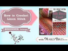 How to crochet the linen stitch --Free Pattern Crochet Cowl: Jilly Bean - Marly Bird Crochet Scarves, Crochet Hooks, Free Crochet, Crochet Stitches Patterns, Stitch Patterns, Crotchet Stitches, Crochet Afghans, Linen Stitch Crochet, Crochet Videos