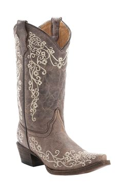 Corral® Kid's Distressed Tan with Ivory Embroidery Snip Toe Cowboy Boots