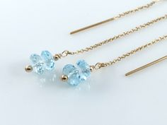 Gold Threader Earrings Blue Topaz and 14k Gold Filled Earrings December Birthstone Something Blue Earrings  Blue Topaz Earrings