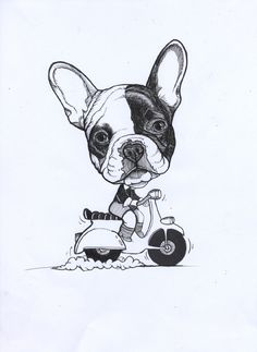 Sketchbook by by Jeroen Teunen. French Bulldog, Frenchie on a vintage scooter.
