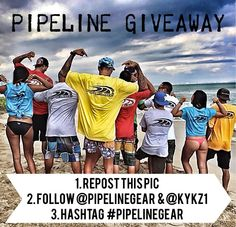 FREE PIPELINE GIVE AWAY. To enter... repost this picture, follow @pipelinegear and @kykz1, hashtag #pipelinegear... WINNER will get 4 Different color Pipeline Logo T- shirts as shown in photo. Winner Will be announced next Tuesday at 4pm Hawai'i time. Good luck!!! Mahalo for the support, ALOHA. #pipelinegear #giveaway #free #aloha #hawaii