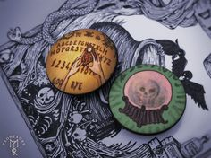FORTUNE TELLER set of 2 pins buttons badges 1.2inch / 32mm - style dark fantasy pagan gipsy goth crystal ball ouija planchette board witch