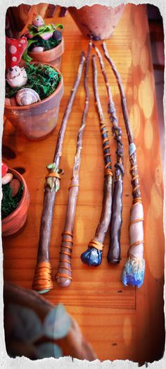 Magic wands Handmade from cold porcelain clay and wood.