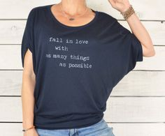 Fall In Love With As Many Things As Possible ~ Navy, Flowy Circle Top