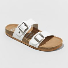 ddff05119a8b4 Women s Mad Love Keava Wide Width Double Band Footbed Sandals - White 10W Black  Sandals
