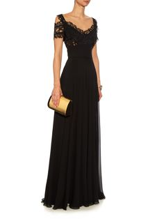 Cut-out lace and silk-blend georgette gown    Elie Saab   MATCHESFASHION.COM