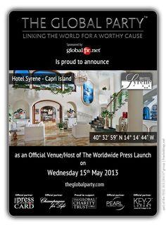 Nell'incantevole cornice di Capri l'Hotel Syrene ospitera` il Lancio Stampa mondiale il 15 Maggio.  Come giornalista partecipa all'evento: http://www.theglobalparty.com/venues/hotel-syrene/