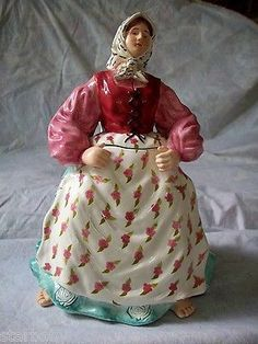 RARE 14 CARROT PHEASANT LADY WITH BARE FEET & LONG PIG TAIL HAIR COOKIE JAR