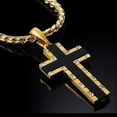 Mens Cross Necklace Pendant 18K Gold Nano Injection Plated Chain Onyx Jewelry 93: