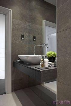 Image result for bathroom slate floor travertine wall