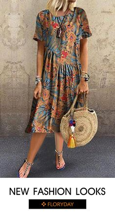 X-line Dress Multicolor Day Dresses Casual Round Neckline Spring Midi Summer Floral S L Half Sleeve XXL Ruffles Dress Shift Dresses, Bodycon Dresses Uk, Midi Dresses, Spring Dresses, Women's Fashion Dresses, Boho Fashion, Fashion Wear, Fashion Bags, Womens Fashion