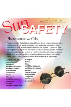 """Before we dive into some highly anticipated roller bottle recipes, we need to discuss photosensitivity. When we use rollers, we are applying oils topically and generally where the sun is exposed to our skin. Citrus oils are photosensitive meaning they should be avoided topically before direct sunlight or artificial UV rays (think tanning beds or booths). ☀️If you will be heading out in the sun, be sure any rollers you apply that contain citrus oils are applied """"where the sun don't shine"""" AKA th"""