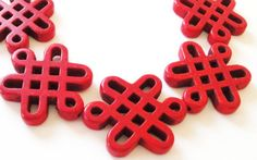 10 OFF ETSY SALE Red  Turquoise Celtic Chinese Knot by BijiBijoux,