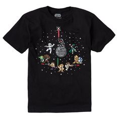 Get 8 bit characters in a modern era with this boys' Star Wars tee. #ForceOfFamily
