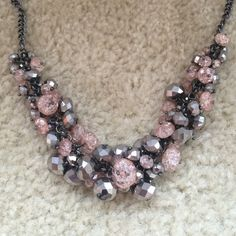 Simply Vera Wang Cluster Necklace Pink, gray and silver cluster necklace by Simply Vera Wang. Never been worn. Simply Vera Vera Wang Jewelry Necklaces