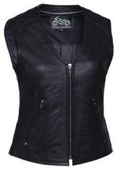 Soft Quilted Shoulder Zipper Leather Motorcycle Vest by Steel Cowgirl