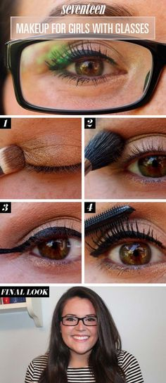 Makeup Tips For Glasses - Makeup Tutorial: How To Make Your Eyes Pop When Wearing Glasses- Simple Step by Step Tutorials for People with Eye Glasses - Easy Beauty Tips for Different Face Shapes, Make Up Ideas and Awesome Hairstyles for Different Types of Eyeglasses - Eyeliner, Foundation, and Nail Art Ideas that Go Great with Lots of Different Looks - thegoddess.com/makeup-tips-for-glasses
