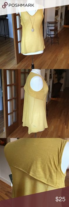 Tank with built in smoother! This is a great top. I just haven't worn it! It has a built in white body smoothing liner while yellow fabric is very light. Slightly asymmetrical. lysse Tops Tank Tops