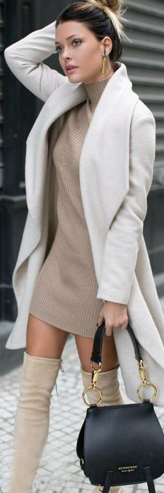 Fall fashion | Turtle neck neutral dress with white coat and over the knee boots