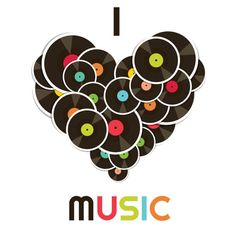 I Love Music Celebrity CD Artist Records Picture Art Bedroom Home Decor Boy Girl Child Teen Dorm Room Vinyl Wall Decal 20X20 Color 617 #biblioteques_UVEG