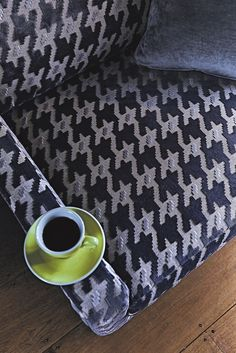 This velvet is Camden Grey from Multiyork - how stunning is the dogtooth pattern detail? This would be great for cosying up on!