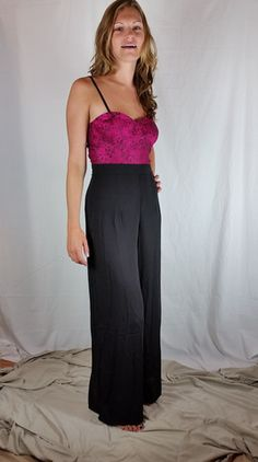 Wide-Leg Bustier Jumpsuit | FrouFrou Couture  Need a Halloween costume idea that is sexy? How about a blackjack dealer?
