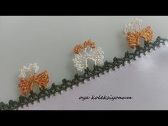 Kelebekli Oya Modeli - YouTube Creative Embroidery, Hand Embroidery, Crochet Borders, Needle Lace, Deco, Crochet Projects, Elsa, Diy And Crafts, Hair Accessories