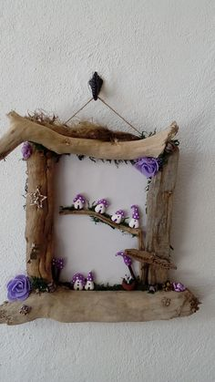 treehouse fairies in a driftwood frame by jansfabfairies on facebook