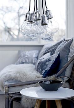 = clustered bulbs and layered greys