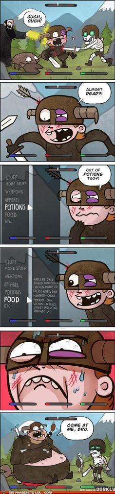 ROFL the only use of food in skrim is when you are out of potions