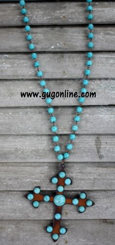 Long Turquoise Chain with Dangle Metal and Turquoise Stud Chopper Cross www.gugonline.com $29.95