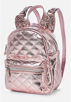 Justice Rose Gold Cat Quilted Tiny Small Mini Backpack >>> Find out more about the great product at the image link. (This is an affiliate link) Girly Backpacks, Cute Mini Backpacks, Stylish Backpacks, Kids Backpacks, Small Backpack, Backpack Bags, Fashion Bags, Fashion Backpack, Mochila Adidas