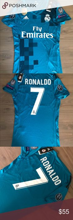 Women Real Madrid 17/18  Ronaldo #7 adidas soccer Women Real Madrid 17/18 away blue Ronaldo #7 adidas soccer jersey Champions league Gold fifa patch   Size: Small Medium  PAYMENTS: CASH,CC  Follow us on instragram: sports12shop adidas Tops Tees - Short Sleeve