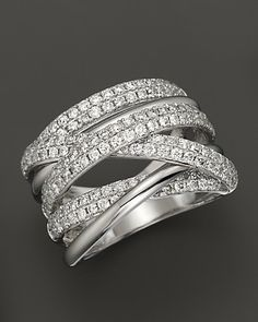 Diamond Crossover Band in 14K White Gold, 1.45 ct. t.w. | Bloomingdale's