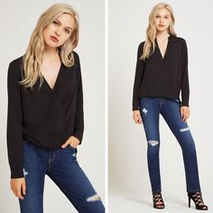 Long Sleeve Blouse - BCBGeneration Long Sleeve Blouse #black #longsleeve #blacklongsleeve #bcbg #cute #fashion #style #casual #ootd #sexy
