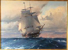 "Chris Blossom, ""Frigate U.S Congress Approaching the California Coast"" 18""X24""."