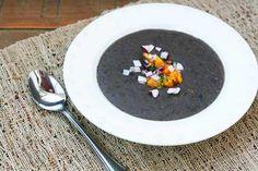 Black bean soup recipe with orange jalapeno salsa