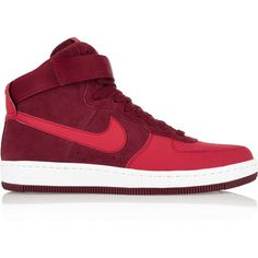 Nike Air Force 1 Ultra Force Mid suede and leather sneakers ($120) ❤ liked on Polyvore featuring shoes, sneakers, red, velcro shoes, suede shoes, leather trainers, velcro sneakers and red trainer
