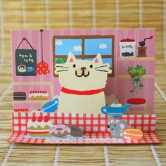 Tea & Cake Cat Pop Up Card by Gakken at Ginko Papers