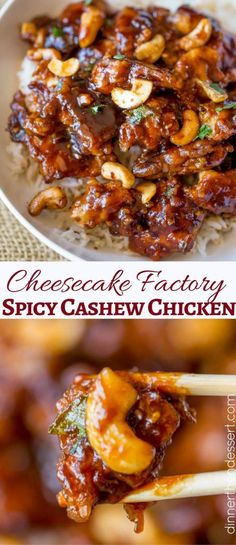 Cheesecake Factory\'s Spicy Cashew Chicken is spicy, sweet, crispy & crunchy, this dish is everything you could hope for and more in a copycat Chinese food recipe! #dessertfoodrecipes