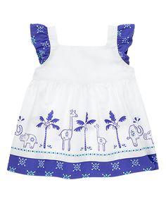 Gymboree Safari Smiles 2T Elephant Giraffe Batik swing top /& shorts Set Blue