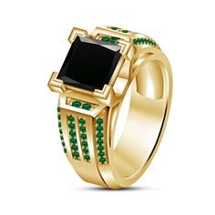 Christmas Special Yellow Gold On Sterling Green Emerald & Black CZ Wedding Ring #adorablejewelry #SolitairewithAccents