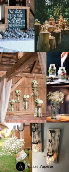 23 Ways to Incorporate Mason Jars into Your Wedding – Amaze Paperie – The Best Ideas Mason Jar Wall Sconce, Hanging Mason Jars, Mason Jar Diy, Wedding Centerpieces Mason Jars, Floating Candle Centerpieces, Quinceanera Centerpieces, Holiday Centerpieces, Christmas Decorations, Home Decoration Images